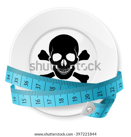 Raster version. Plate with Blue Measuring Tape and Skull with Crossed Bones - stock photo