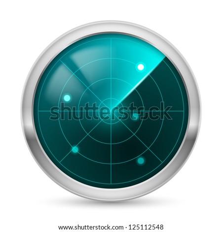 Raster version. Radar icon. Illustration white background for design - stock photo