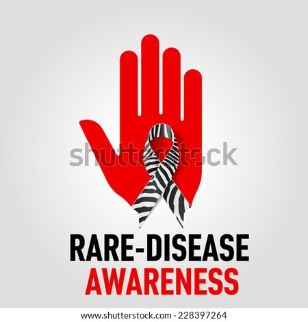 Raster version. Rare-Disease Awareness sign sign.  Red hand with zebra-print ribbon on grey background  - stock photo