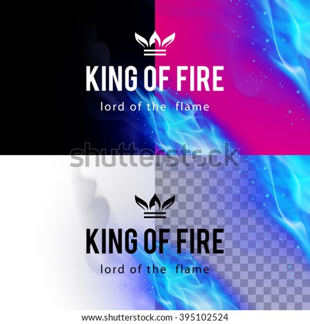 Raster version. Realistic Blue Fire Flames Effect on Differents Backgrounds - stock photo