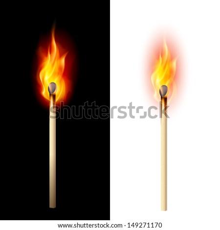 Raster version. Realistic burning match. Illustration on white and black - stock photo