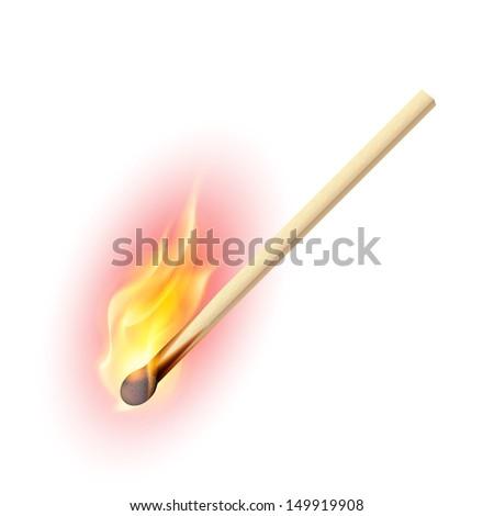Raster version. Realistic burning match. Illustration on white background - stock photo