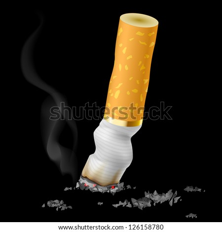 Raster version. Realistic cigarette butt on black background - stock photo