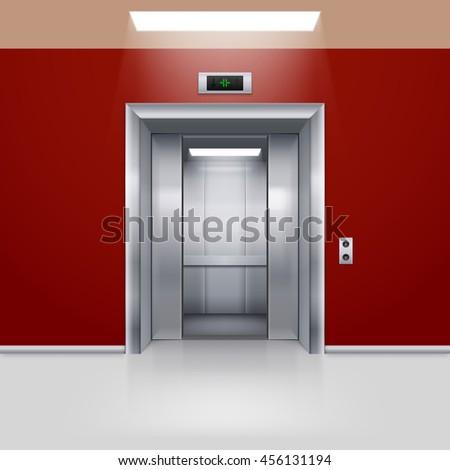 Raster version. Realistic Empty Elevator with Half Open Door in Red Lobby - stock photo