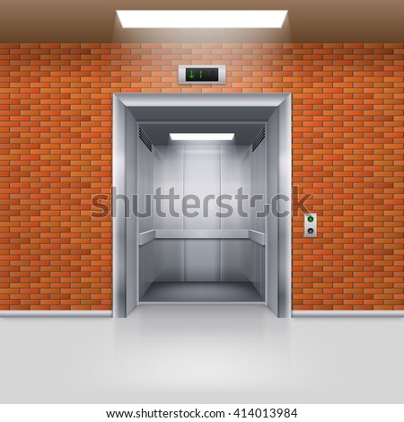Raster version. Realistic Empty Elevator with Open Door in a Brick Wall