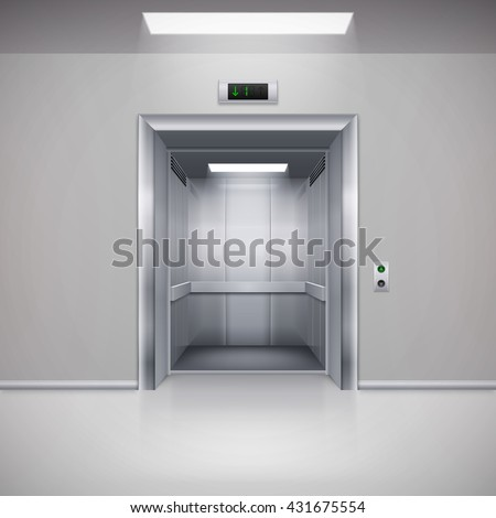 Raster version. Realistic Empty Modern Elevator with Open Door - stock photo