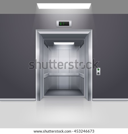 Raster version. Realistic Empty Modern Elevator with Open Door in Hall