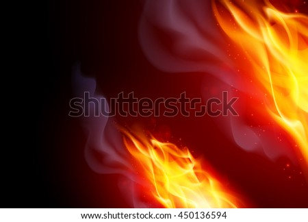 Raster version. Realistic Fire Flames Effect on Black Background - stock photo