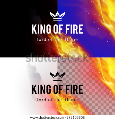 Raster version. Realistic Fire Flames Effect on Differents Backgrounds - stock photo