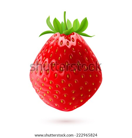 Raster version. Realistic illustration of delicious fresh strawberry isolated on white background  - stock photo
