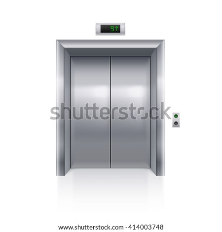 Raster version. Realistic Metal Modern Elevator with Closed Door on White Background - stock photo