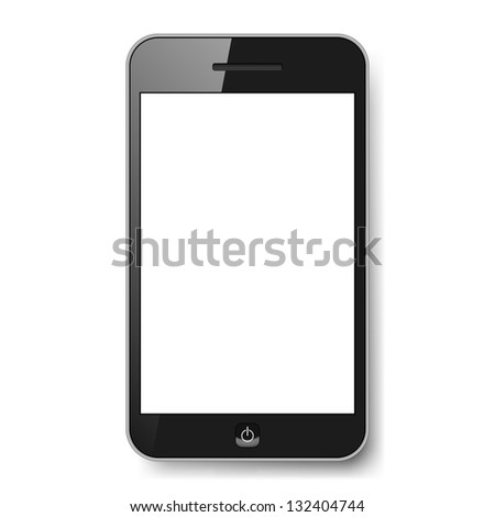 Raster version. Realistic mobile phone with blank screen. Illustration on white background for design - stock photo
