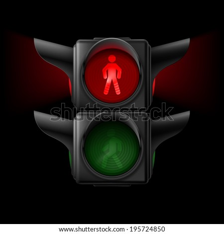 Raster version. Realistic pedestrian traffic lights off. Illustration on black background