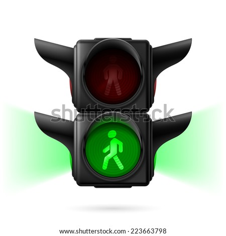 Raster version. Realistic pedestrian traffic lights with green light on and sidelight. Illustration on white background  - stock photo