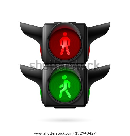 Raster version. Realistic pedestrian traffic lights with red and green lamps on. Illustration on white background