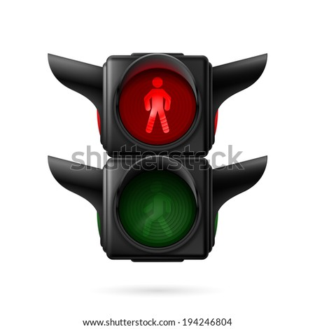 Raster version. Realistic pedestrian traffic lights with red lamp on. Illustration on white background