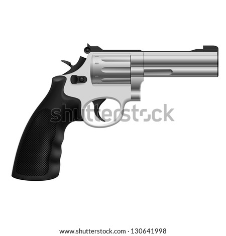Raster version. Realistic Revolver. Illustration on white background for design