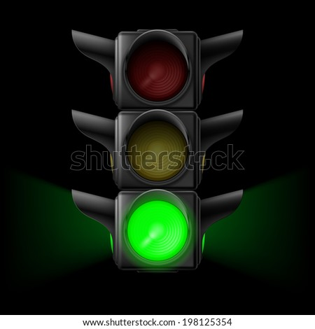Raster version. Realistic traffic lights with green lamp on. Illustration on black background - stock photo