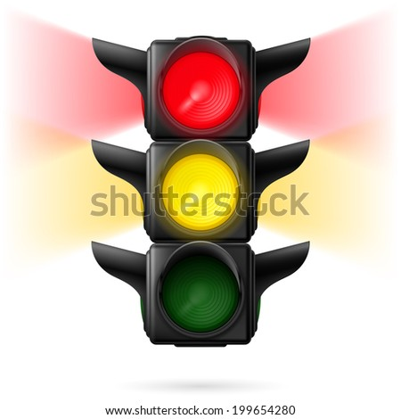 Raster version. Realistic traffic lights with red and yellow colors on with sidelight. Illustration on white background
