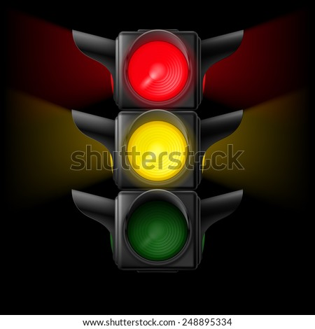 Raster version. Realistic traffic lights with red and yellow lights on. Illustration on black background  - stock photo