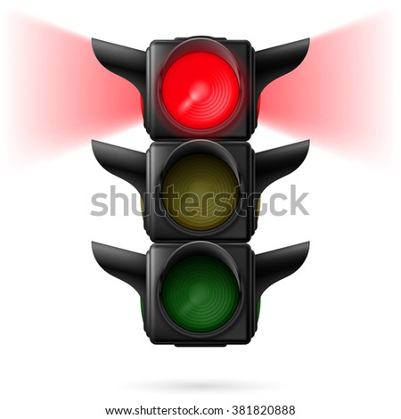 Raster version. Realistic traffic lights with red color on and sidelight. Illustration on white background