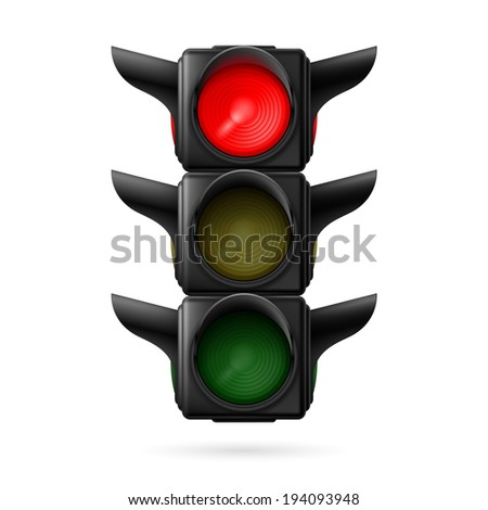Raster version. Realistic traffic lights with red color on. Illustration on white background