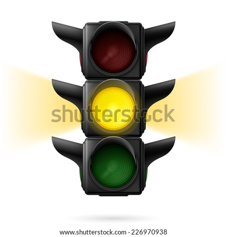 Raster version. Realistic traffic lights with yellow color on and sidelight. Wait signal. Illustration on white background