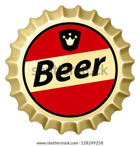 Raster version. Red beer cap.  Illustration of designer on white background - stock photo