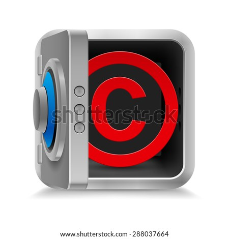 Raster version. Red copyright symbol inside the safe  on the white background  - stock photo