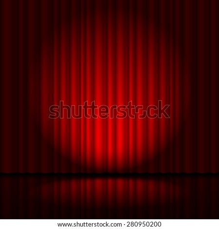 Raster version. Red curtain from the theatre with a spotlight  - stock photo