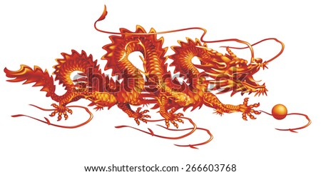 Raster version / Red Dragon moving horizontally on a white background - stock photo