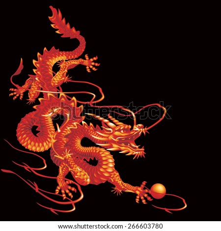 Raster version / Red Dragon running down diagonally on a black background - stock photo
