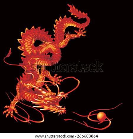 Raster version / Red Dragon running vertically down the black background - stock photo