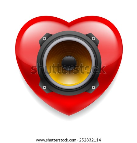 Raster version. Red glossy heart with loudspeaker as favourite music icon  - stock photo