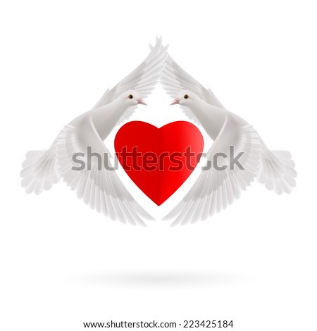 Raster version. Red heart between two white  flying doves  - stock photo