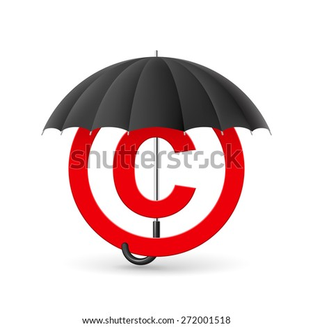 Raster version. Red icon of copyright under black umbrella  - stock photo