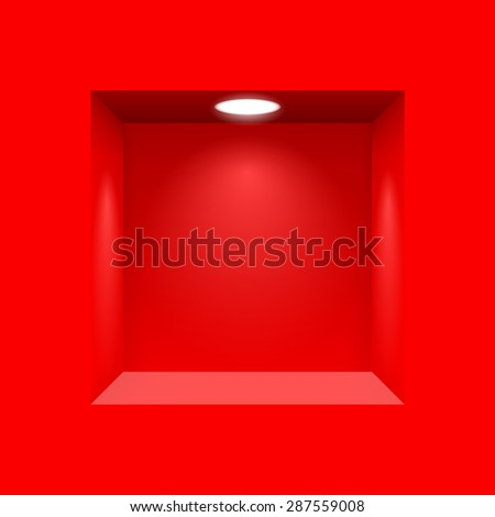 Raster version. Red niche for presentations with illuminated  light lamp  - stock photo