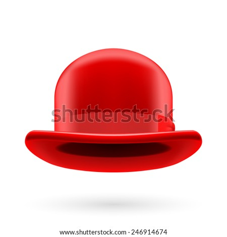 Raster version. Red round traditional hat with hatband on white background.