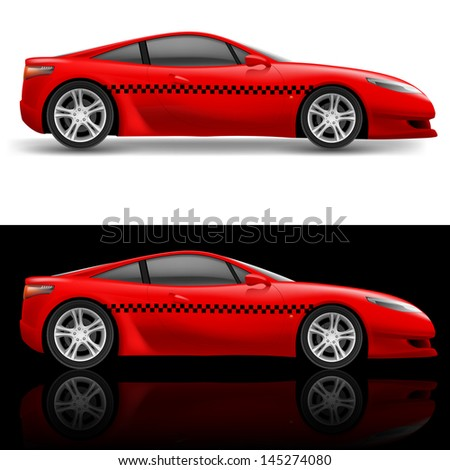 Raster version. Red sports car taxi. Illustration on white and black background - stock photo