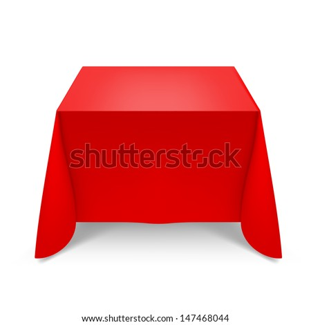 Raster version. Red tablecloth. Illustration on white background for design - stock photo