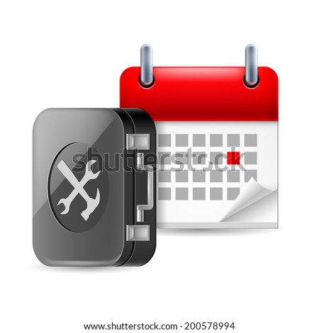 Raster version. Repair and time icon with tool box and calendar - stock photo