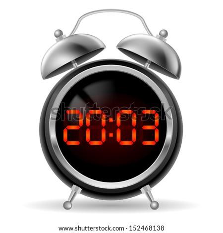 Raster version. Retro round alarm clock with modern digital face. Orange numbers on black background. Illustration on white.  - stock photo