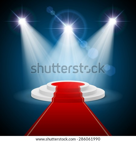 Raster version. Round stepped  podium with red carpet and illuminated spotlights  - stock photo