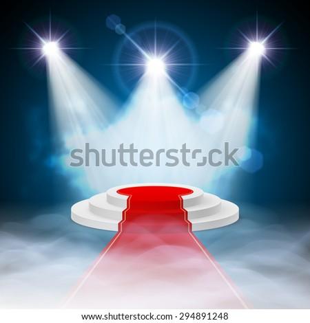 Raster version. Round stepped white podium with red carpet and illuminated spotlights - stock photo