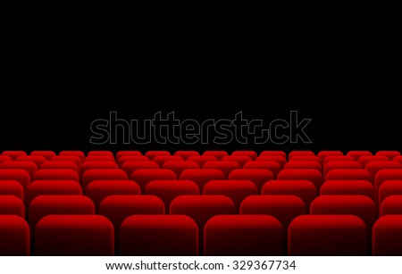 Raster version. Rows of red cinema or theater seats in front of black screen with sample text space. . - stock photo