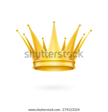 Raster version. Royal golden crown isolated on a white background
