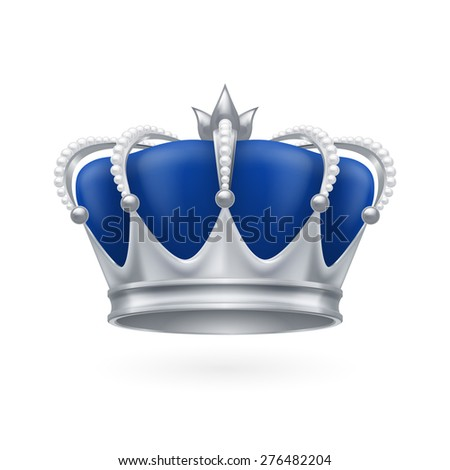Raster version. Royal silver crown on a white background for design - stock photo