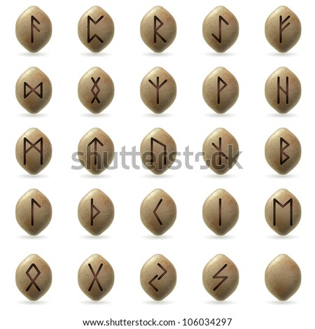 Raster version. Runic Stones with Magical Spells. Big set on white background