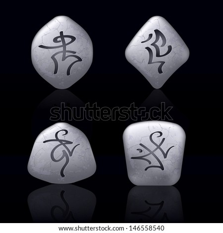 Raster version. Runic Stones with Magical Spells. Set number Five on black