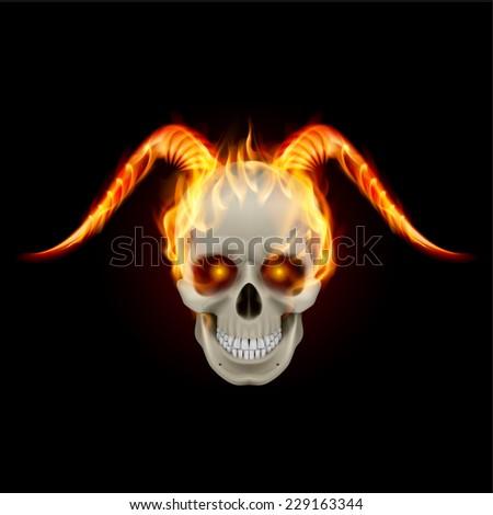 Raster version. Scary burning skull with demon fire horns  - stock photo